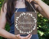 No Soliciting Sign | No Soliciting Door Sign | Do Not Disturb Sign | No Soliciting Wood Sign | No Soliciting | No Soliciting Please
