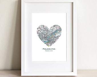 CUSTOM Heart Map Fine Art Print. Print Only. You Select Any City Worldwide. Personaized Text. Travel Wedding Gifts. Anniversary Gifts.