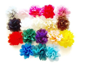 "Chrysanthemum Chiffon Flowers - 2 1/4"" Flowers - DIY Flower Supplies - Large Chiffon Puffs - Wholesale Flowers - You Pick Colors"