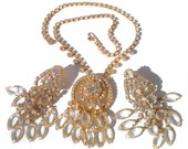 Formal Rhinestone Necklace & Clip On Earrings Set with Crystal Cascading Glass on Gold Tone - Vintage Jewelry