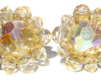 Cluster Clip On Earrings with Yellow Glass Beads with Aurora Borealis Coating - Vintage Jewelry Signed Lisner