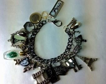 Paris Charm Bracelet. Souvenir Bracelet. Eiffel Tower
