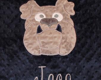 Personalized blanket, Bulldog blanket baby blanket, blanket  29 x 35 blanket personalized, you pick colors