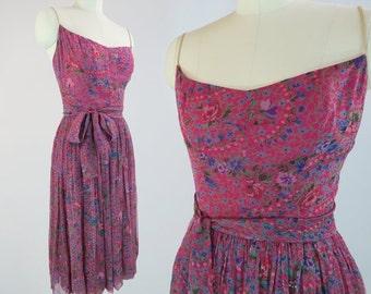 JANE DERBY 1950s Floral Chiffon Dress