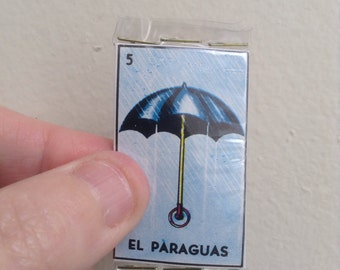 El Paraguas Pocket Talisman - Pocket Amulet - Mexican Wallet Saint - Wallet Amulet - Mixed Media Assemblage Collage - Umbrella - Alter