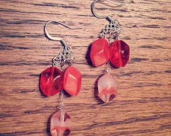 Contrasting coral beaded earrings