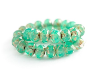 NEW Emerald Opal Picasso Rondelle Beads, Faceted Czech Glass, Milky Green Fire Polished Donut Spacers (3/5mm) x 25