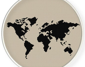 INSTANT DOWNLOAD,Free shippingCounted Cross-Stitch PDF,world map ,2 patterns  1 price ,zxxc0628