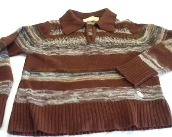 Vintage Afashion Imports Woman's Sweater Horizontal Stripes Brown Long Sleeved V-Neck