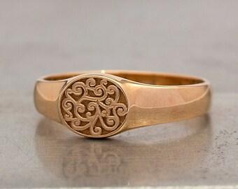 14k Rose Gold Signet Ring Scrolls Signet Ring