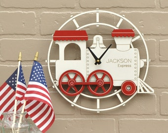 Kids Wooden Train Clock Personalized Nursery Decor Red White