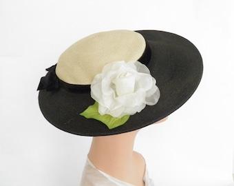 Vintage 1940s hat, tilt with white rose