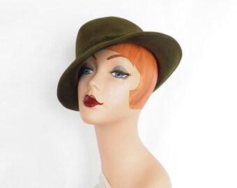 Vintage trilby fedora hat, France Flechet, boyfriend hat