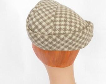 Vintage 1950s hat brown white herringbone wool