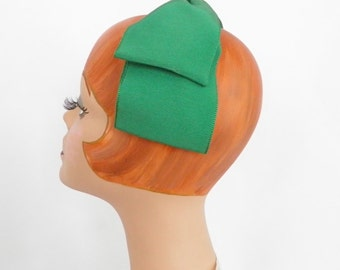 1960s vintage headband hat, green grosgrain bow