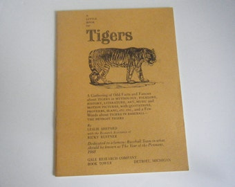 A Little Book of Tigers booklet by Leslie Shepard 1968 Detroit Tigers dedication