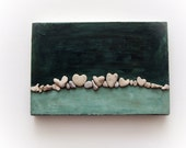 Unique Gift Idea - Wall Art - Pebble Art - Beach House - Stones Art -Heart Beach Rocks - 3D wall decor gift - heart shaped beach stones - L7