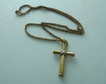 Vintage Religious Two Tone Gold Cross Pendant Necklace Korea~Religious Cross Necklace Korean