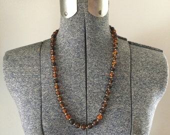 Vintage 70s Brown Beaded Necklace // Hippie Boho