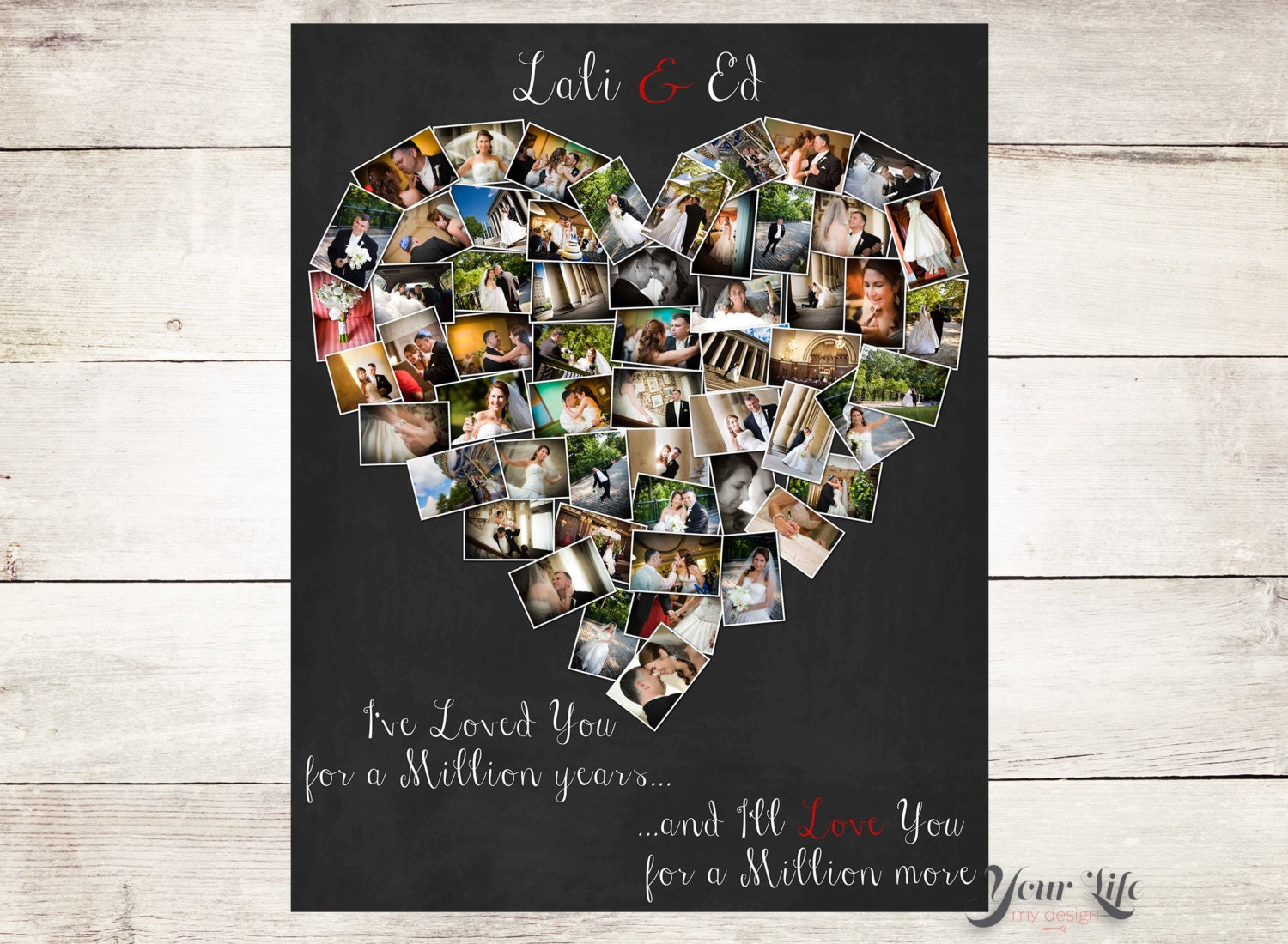 Personalized Anniversary Gift Heart Photo Collage