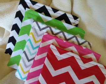 """Reusable Snack and Sandwich Bags, Make Up Bag, Change Purse, Grab Bag Gift, Party Favor """"Chevrons Everywhere!"""""""