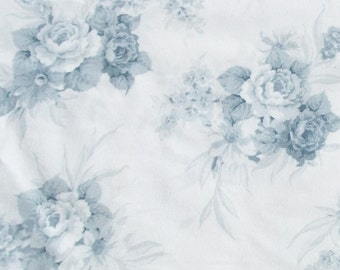 Pretty Piece of Vintage French 1940s Fabric Soft white toile with bouquets of dove grey blue roses