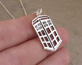 Hand-cut Tardis Sterling Silver Pendant on Chain