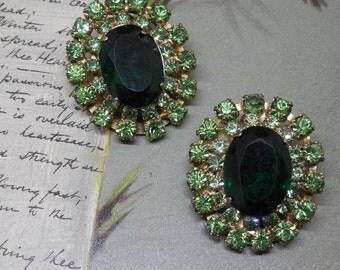 Juliana Green Stone Rhinestone Clip On Earrings    NY6