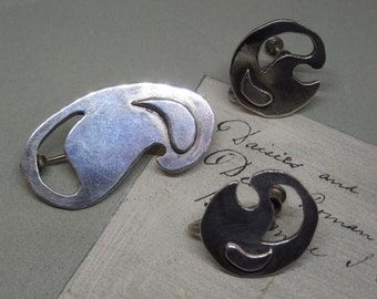 Abstract Modernist Sterling Brooch and Earrings Set    NP12