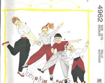 Halloween McCalls Pattern Girls Jumping Beans Pants and Top  4962 Size 8 to 10 Vintage 1990's