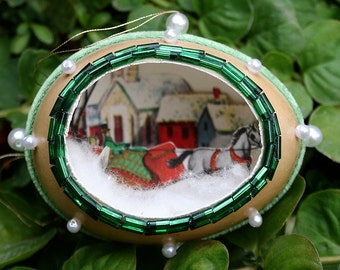 Vintage Chicken Egg Shell Christmas Diorama Metallic Trim Scene Fabergé Style - Green Velvet Horse and Sleigh Embellished Decorated Egg