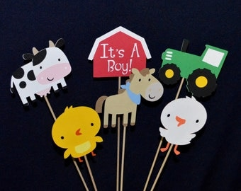 READY TO SHiP Farm Centerpiece Set of 6 Barnyard Sticks Cake Topper Table Decoration Diaper Cake Up to 3 Sets AVAiLABLE for SAME SHiPPING