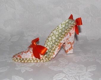 Paper Shoe, Orange Damask Keepsake High Heel Paper Shoe Favor, OOAK