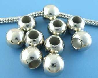 100 pcs Silver Tone Acrylic Smooth Ball Spacer Beads - 9mm - Large Hole: 4.8mm - Fits European Cords!