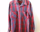 ON SALE Vintage, Big Mac, For JC Penney, Red, Plaid, Flannel, Mens Large, Work Shirt, 70s, Hipster, Fashion