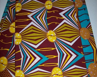African fabric per yard Blue, green, yellow color/ African print fabrics/ Trendy wax print fabrics/ Ankara/ African Maxi Skirt fabric