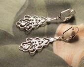 Clip on or Pierced Lightweight Elegant Filigree Dangle Silver Earrings