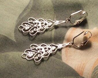 Lightweight Elegant Filigree Dangle Silver Clip On Earrings or Pierced