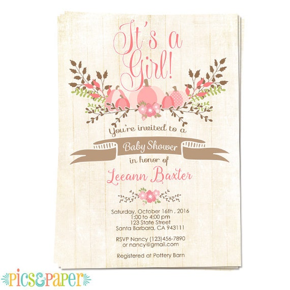 pink pumpkin baby shower invitation for baby girl country rustic
