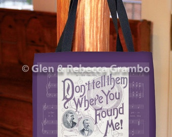 Tote Bag, Vintage Sheet Music, Book Bag, Grocery Bag, Shopping Bag, Purple Carrier Bag, Don't Tell Them Where You Found Me