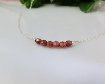 Beaded Necklace. Moon Dust czech beads Necklace. Sterling Silver. Gold Filled. Everyday jewelry by smoketabby.  Gift for her.