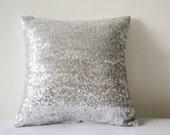 Shiny Silver Sequin Pillow Cover, Silver Decorative Pillow, Silver Metallic Cushion Cover