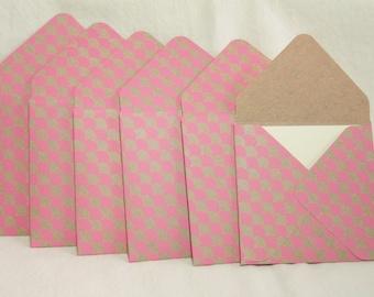 Mini Envelopes, Mini Note Cards, Handmade Envelopes, Pink Stationery