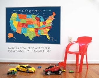 US Map Decal, USA Explore, Nursery Decor, Baby Room, Play room ideas, Educational Map, Map for kids, Gift for Boys and Girls