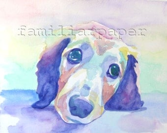 Dachshund: Print of Original Watercolor