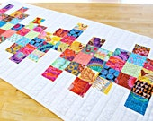 Quilted Table Runner, Modern Table Runner, Rainbow Table Runner, Patchwork Table Runner, Kaffe Fassett fabric, White Table Runner