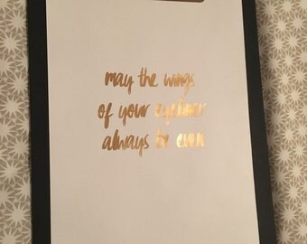 A4 Foil Print - 'may the wings of eyeliner...' - white with rose gold foil - framed or unframed