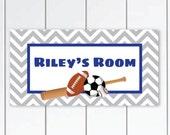 Sports theme door sign boys bedroom decor plaque - baseball Sport balls -sport door-sign-Personalized gift