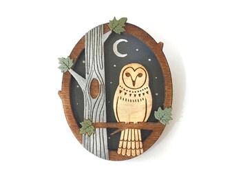 Night owl brooch ~ hand painted laser cut brooch