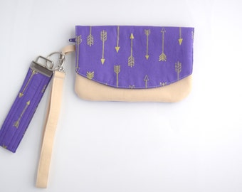Cell Phone Wristlet Wallet, Arrow Wristlet, Small Zipper Pouch with Key Fob, Gift for Her, Handmade, Ready to Ship